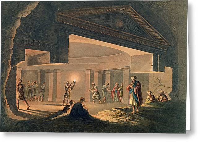 Tomb Drawings Greeting Cards - Interior View Of The Catacombs Greeting Card by Luigi Mayer