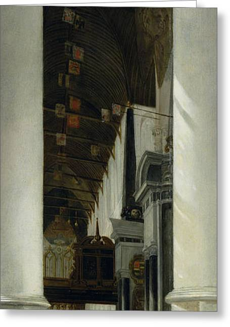 Interior View Of The New Church In Delft Greeting Card by Emanuel de Witte