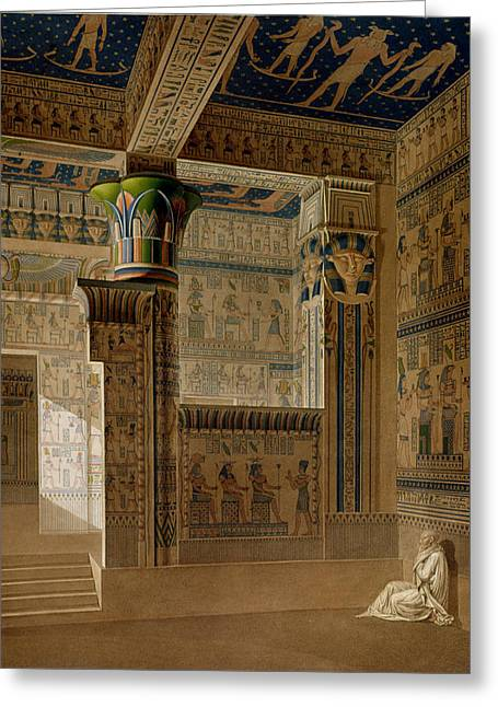 Hathor Greeting Cards - Interior View Of The West Temple Greeting Card by Le Pere