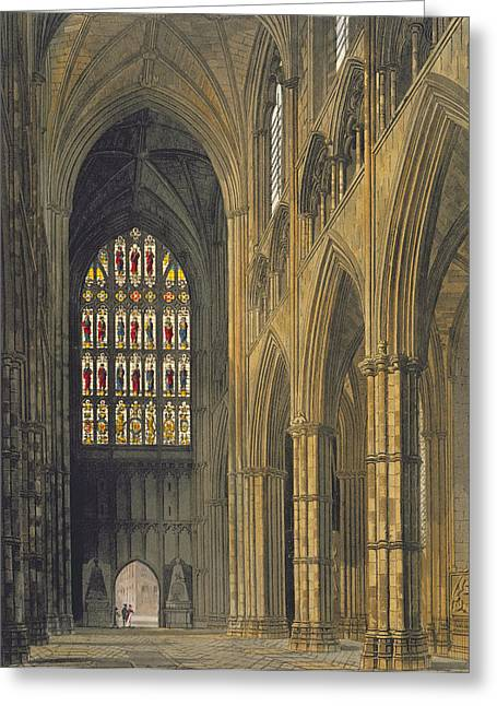 Stained Glass Windows Greeting Cards - Interior View Of Westminster Abbey Greeting Card by Frederick Mackenzie