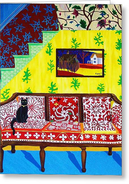 Fauvist Style Greeting Cards - Interior with Cath Greeting Card by Rivkah Singh