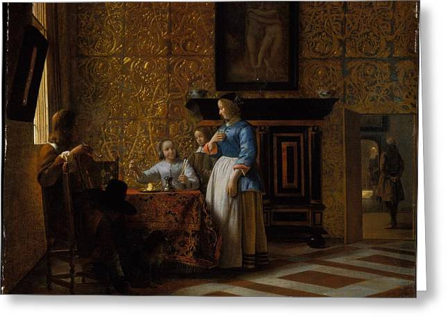 Hooch Greeting Cards - Interior with Figures Greeting Card by Pieter de Hooch