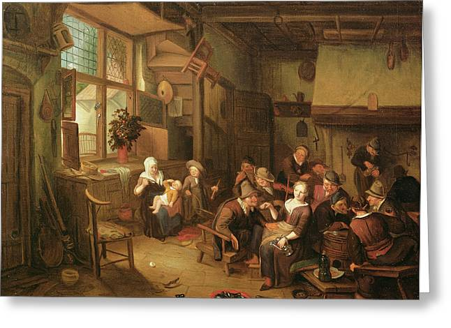 Peasant Greeting Cards - Interior With Peasants Drinking Oil On Canvas Greeting Card by Richard Brakenburg
