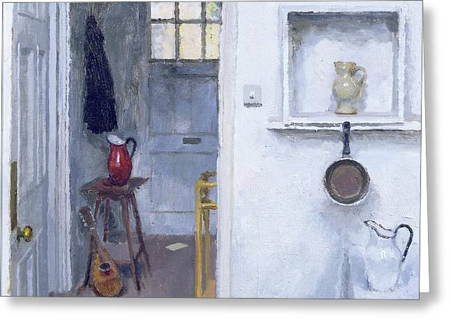 Interior with Red Jug Greeting Card by Charles E Hardaker