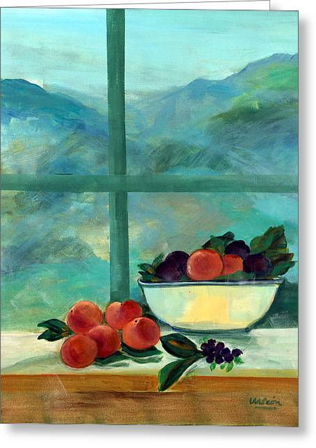Grape Leaves Photographs Greeting Cards - Interior With Window And Fruits Oil & Acrylic On Canvas Greeting Card by Marisa Leon