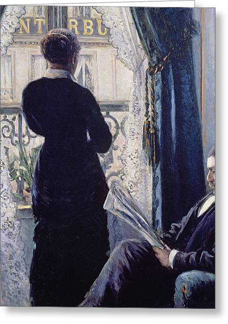 Lace Curtains Greeting Cards - Interior Woman at the Window Greeting Card by Gustave Caillebotte