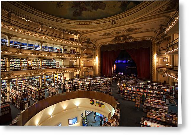 Buenos Aires Greeting Cards - Interiors Of A Bookstore, El Ateneo Greeting Card by Panoramic Images