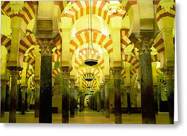 Mezquita Greeting Cards - Interiors Of A Cathedral, La Mezquita Greeting Card by Panoramic Images