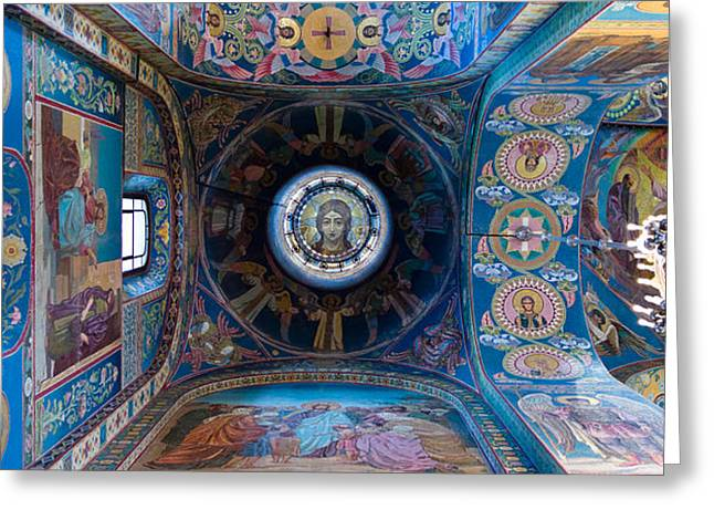 Church On Spilled Blood Greeting Cards - Interiors Of A Church, Church Of The Greeting Card by Panoramic Images