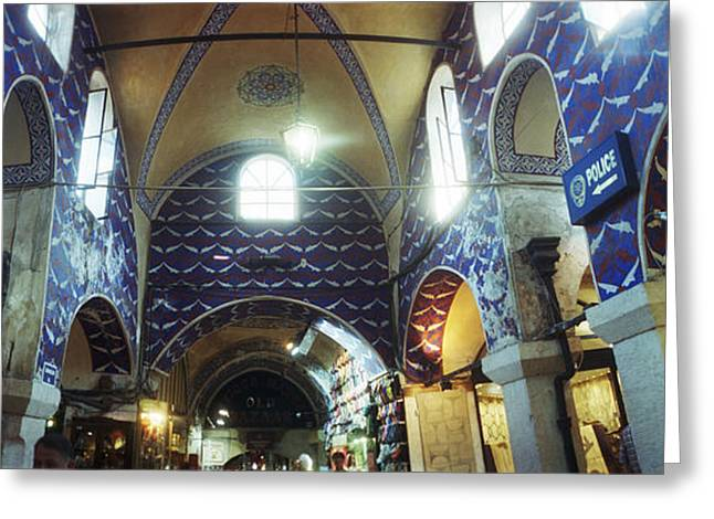 Interiors Of A Market, Grand Bazaar Greeting Card by Panoramic Images