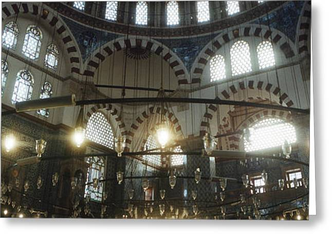Istanbul Greeting Cards - Interiors Of A Mosque, Rustem Pasha Greeting Card by Panoramic Images