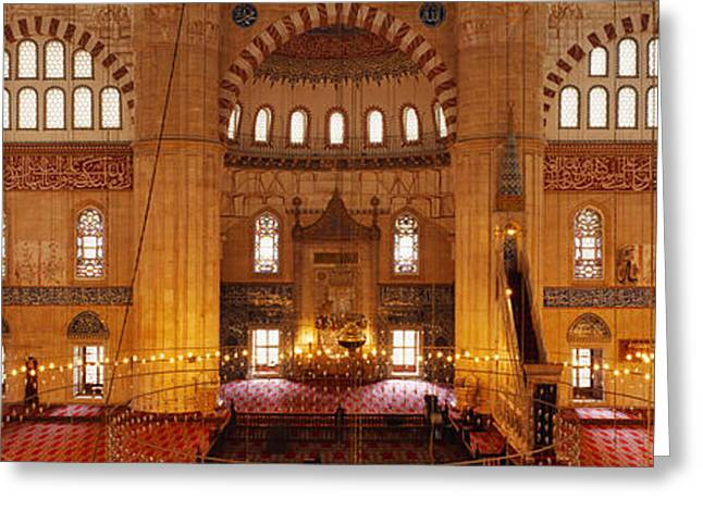 Byzantine Greeting Cards - Interiors Of A Mosque, Selimiye Mosque Greeting Card by Panoramic Images