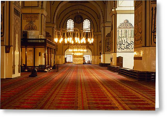 Great Mosque Greeting Cards - Interiors Of A Mosque, Ulu Camii Greeting Card by Panoramic Images