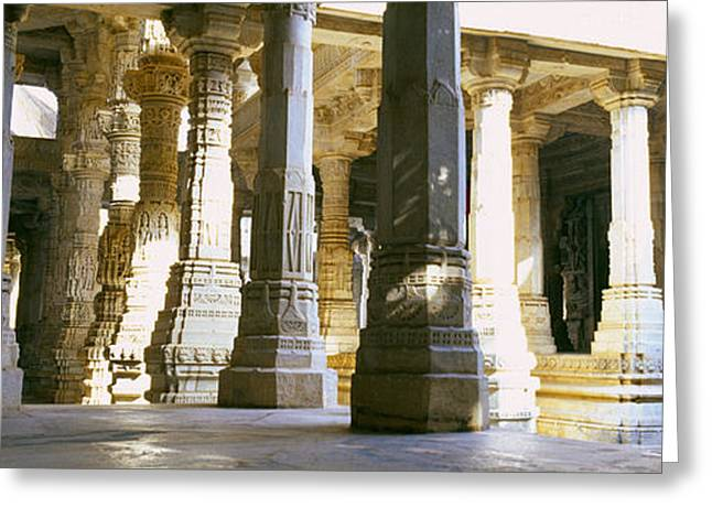 Featured Art Greeting Cards - Interiors Of A Temple, Jain Temple Greeting Card by Panoramic Images