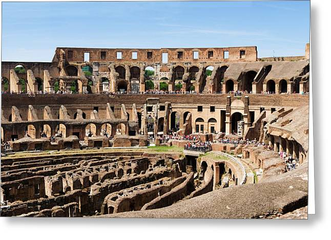 Interior Scene Greeting Cards - Interiors Of An Amphitheater, Coliseum Greeting Card by Panoramic Images