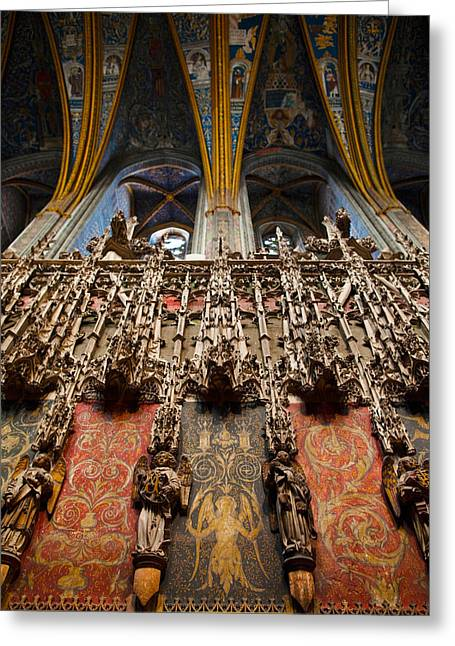Midi Greeting Cards - Interiors Of Cathedrale Sainte-cecile Greeting Card by Panoramic Images