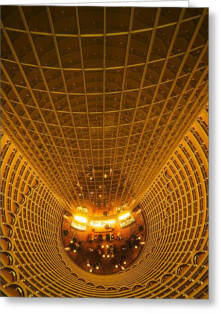 Pudong Greeting Cards - Interiors Of Jin Mao Tower Looking Greeting Card by Panoramic Images