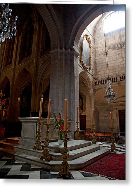Votive Candles Greeting Cards - Interiors Of The Church Of St Greeting Card by Panoramic Images