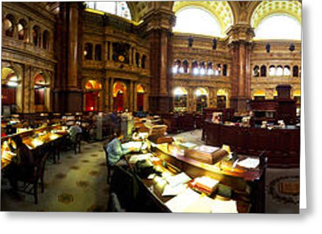 Library Greeting Cards - Interiors Of The Main Reading Room Greeting Card by Panoramic Images