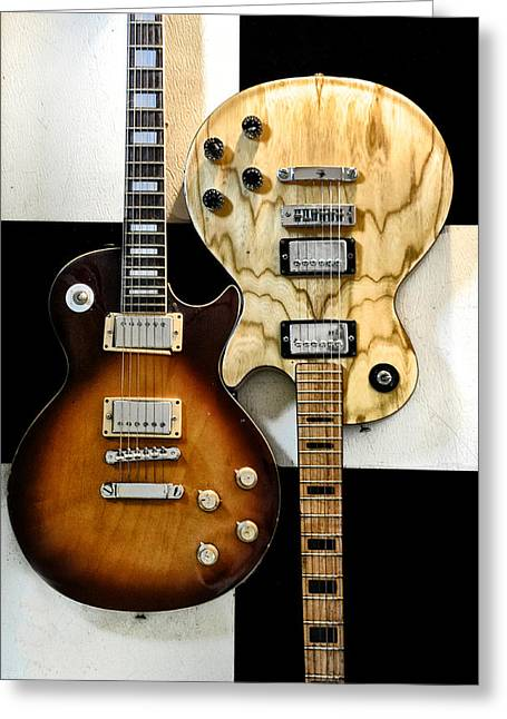 Interlocking Greeting Cards - Interlocking Guitars - Les Paul Greeting Card by Bill Cannon