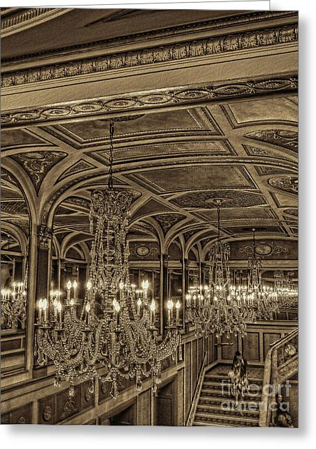 Sepia Chandeliers Greeting Cards - Intermission Greeting Card by Jeff Breiman