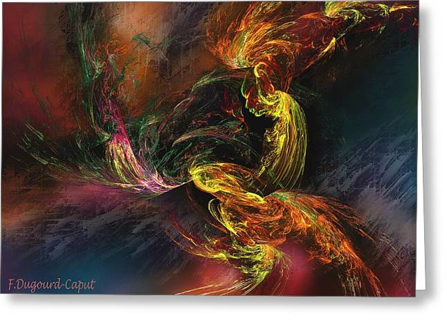 Abstract Digital Paintings Greeting Cards - Internal Greeting Card by Francoise Dugourd-Caput