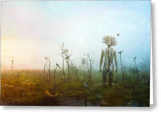 Tree Roots Digital Art Greeting Cards - Internal Landscapes Greeting Card by Mario Sanchez Nevado