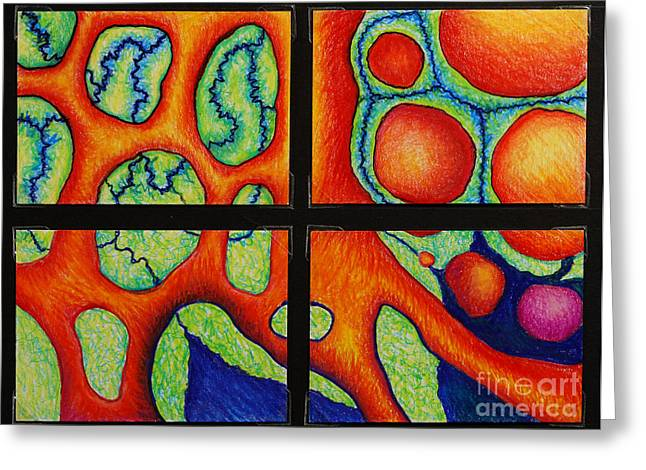 Organic Drawings Greeting Cards - Internalscape Journey Group 9 Greeting Card by Nancy Mueller