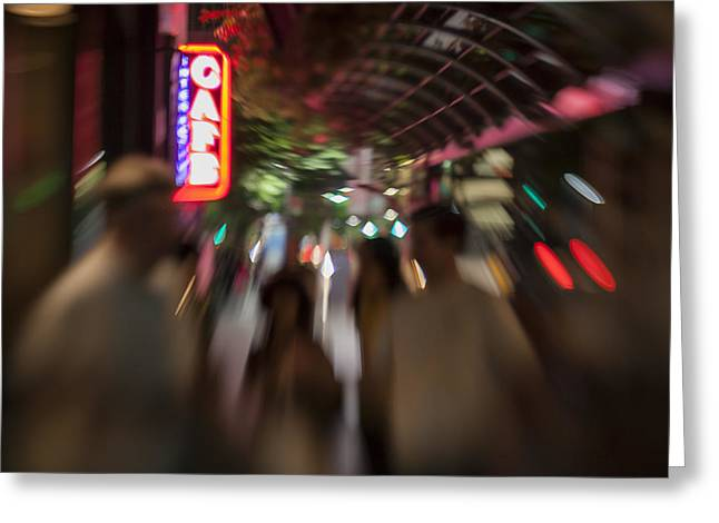Santa Monica Greeting Cards - International Cafe Neon Sign and Street Scene at Night Santa Monica CA Landscape Greeting Card by Scott Campbell