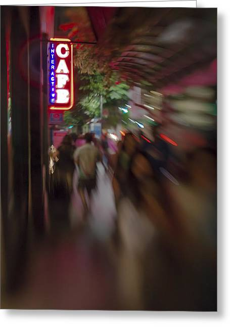 Southern California Greeting Cards - International Cafe Neon Sign and Street Scene at Night Santa Monica CA Portrait Greeting Card by Scott Campbell
