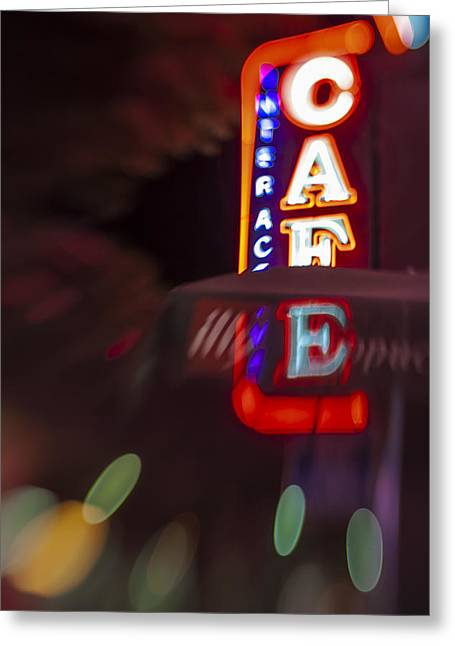 Santa Monica Greeting Cards - International Cafe Neon Sign at Night Santa Monica CA Greeting Card by Scott Campbell