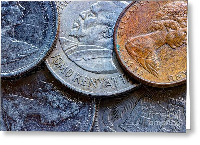 Coins Greeting Cards - International Coins Greeting Card by Heidi Smith