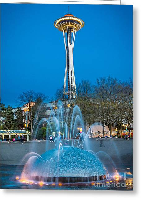 Urban Space Greeting Cards - International Fountain Lights Greeting Card by Inge Johnsson