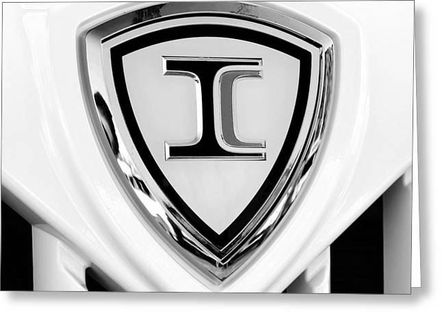 Bus Signs Greeting Cards - International Hood Ornament Square BW Greeting Card by Andee Design