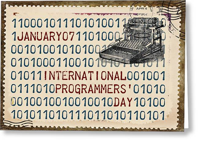 Typewriter Greeting Cards - International Programmers Day January 7 Greeting Card by Carol Leigh