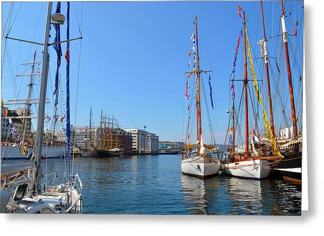 Sailing Ship Greeting Cards - International Sailing Festival in Bergen Norway Greeting Card by Carol  Eliassen