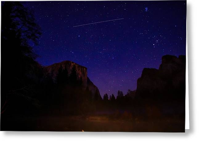 Cathedral Rock Greeting Cards - International Space Station over Yosemite National Park Greeting Card by Scott McGuire