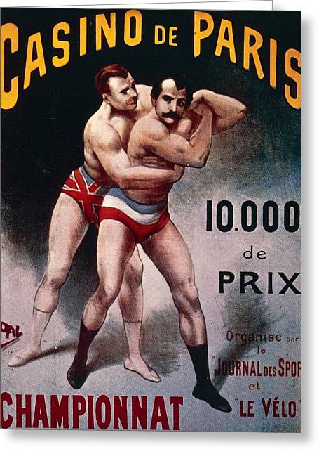 International Wrestling Championship Greeting Card by Pal Jean de Paleologue