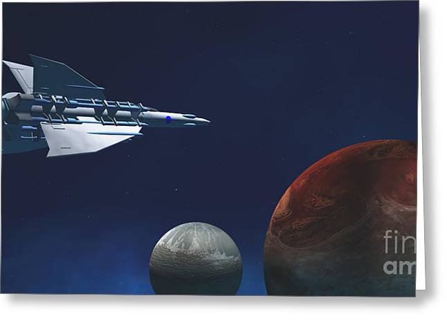 Jet Star Greeting Cards - Interplanetary Travel Greeting Card by Corey Ford