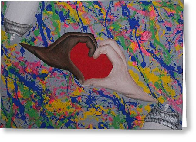 Gay Relationship Greeting Cards - Interracial Love is Art Greeting Card by Janaye Book