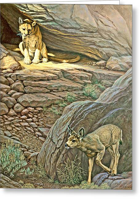 Fawn Greeting Cards - Interruption-Cougar and Fawn Greeting Card by Paul Krapf