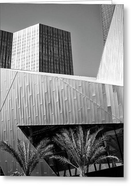 Featured Art Greeting Cards - INTERSECTION 2 BW Las Vegas Greeting Card by William Dey