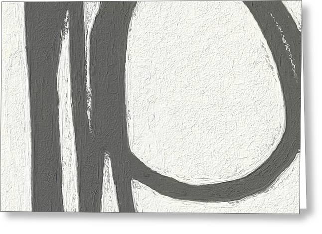 Black Abstract Art Greeting Cards - Intersection Greeting Card by Linda Woods