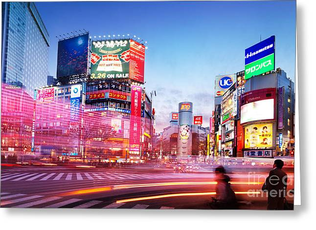 Moving Colors Greeting Cards - Intersection Shibuya Tokyo colorful lights Greeting Card by Oleksiy Maksymenko