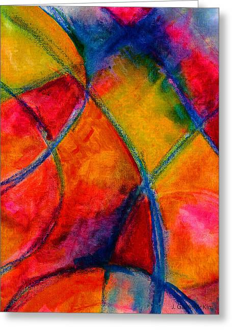 Vivid Colour Mixed Media Greeting Cards - Intersections 01 Greeting Card by Jo-Anne Gazo-McKim
