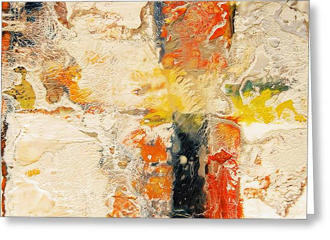 Beige Abstract Greeting Cards - Intersections ID# E-1313 Greeting Card by Shirley Williams