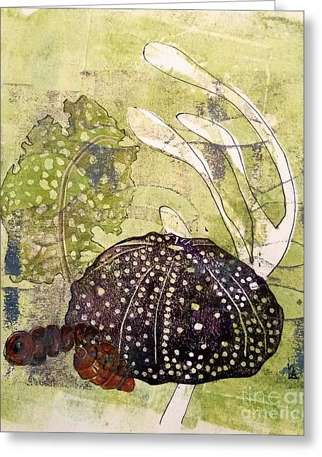 Linocut Mixed Media Greeting Cards - Intertidal Greeting Card by Cynthia Lagoudakis