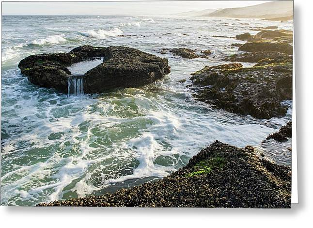 Intertidal Zone Impacted By Wave Action Greeting Card by Peter Chadwick