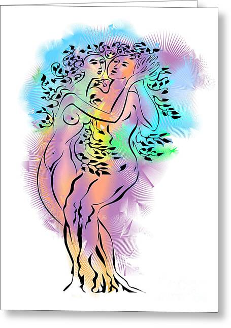 Female Body Mixed Media Greeting Cards - Intertwined Greeting Card by Alex Tavshunsky