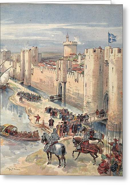Diplomacy Greeting Cards - Interview Of Aigues-mortes Greeting Card by Albert Robida